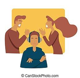 adolescent, tension, discuter, écouteurs, père, fils, parents, mère, problème