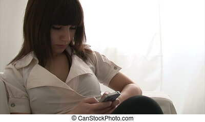 adolescent, texting, girl