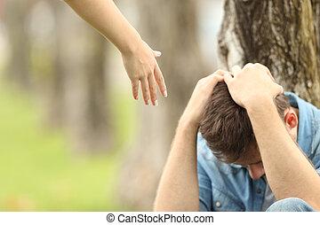 adolescent, triste, aide, offrande, main