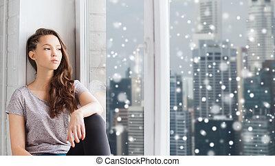 adolescent, triste, regarder, fenêtre, par, jolie fille