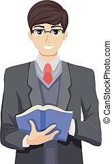 adolescent, type, livre, prof