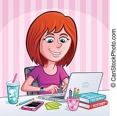 adolescent, utilisation, girl, ordinateur portable