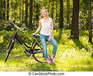 adolescent, vélo, girl, ensoleillé, parc, sourire, jour