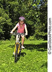 adolescent, vélo, girl
