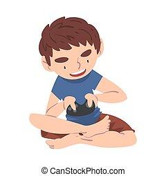 adolescent, vecteur, gosse, style, illustration, vidéo, jouer, excité, contrôleur, garçon, joue consolez, tenue, dessin animé