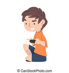adolescent, vecteur, gosse, style, illustration, vidéo, jouer, excité, contrôleur jeu, garçon, joue consolez, tenue, dessin animé