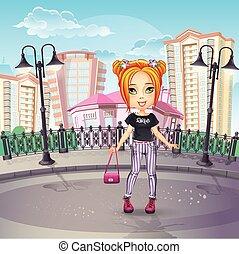 adolescent, ville, image, jean, promenade, girl