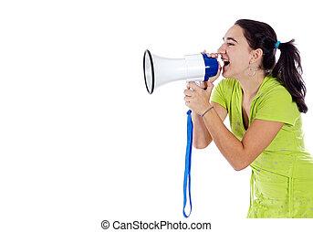 Adolescent with megaphone