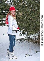 adolescente, à, patins glace