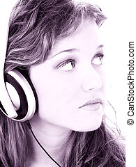 adolescente, écouteurs