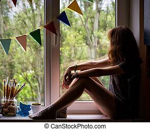 adolescente, 5, rebord fenêtre, séance