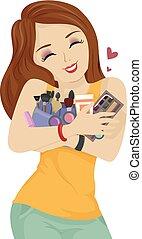 adolescente, abbraccio, truccare, illustrazione, prodotti, ragazza