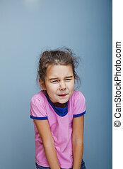 adolescente,  abdominal, aparência, anos,  5, dor, menina, tem, europeu