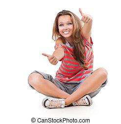 adolescente, actuación, arriba, aislado, pulgares, niña, uno, blanco, feliz