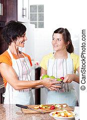 adolescente, ajudando, menina, cozinha, mãe