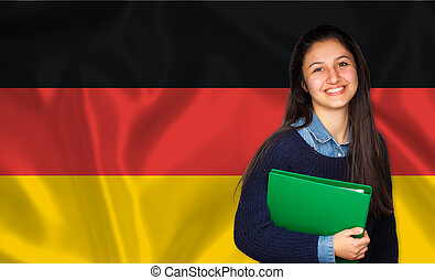 adolescente, alemão, sobre, bandeira, estudante, sorrindo