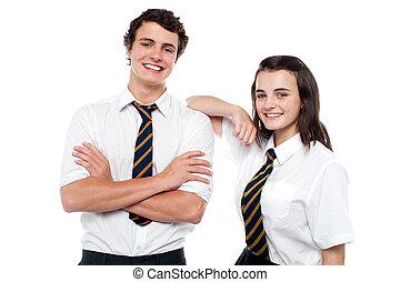 adolescente, allegro, amici, istantanea, studente