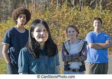 adolescente, amici, etnico