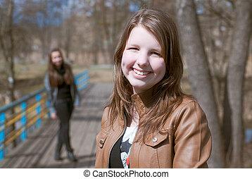 adolescente, amici, parco, felice