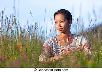 adolescente, ao ar livre, jovem, americano, africano, retrato, menina