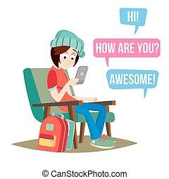 adolescente, apartamento, conversando, jovem, ilustração, sorrir., messenger., vector., adolescentes, menina, caricatura