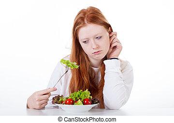 adolescente, appetito, ragazza, no