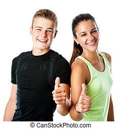 adolescente, arriba., pareja, pulgares, condición física