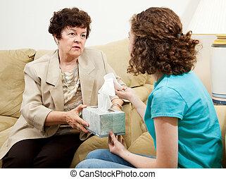 adolescente, asesoramiento, tejido, -, tener