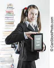adolescente, atrás, libro, libros, impreso, niña,...