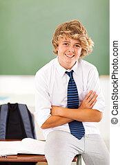 adolescente, aula, alunno, mezzo