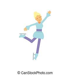 adolescente, azul, estilo vida, figura, patinação gelo, vetorial, ilustração, ativo, menina, desporto, vestido