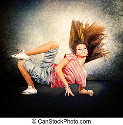 adolescente, bailando, dancer., dance., cadera-salto