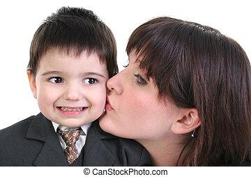 adolescente, bambino primi passi, bacio