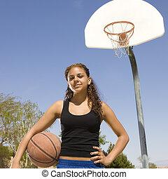 adolescente, basket-ball