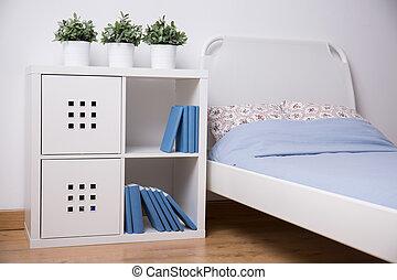 adolescente, bianco, mobilia, camera letto