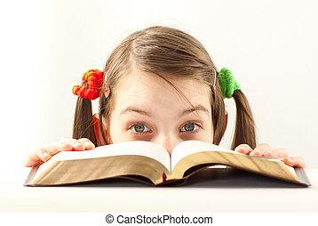 adolescente, bible, surpris