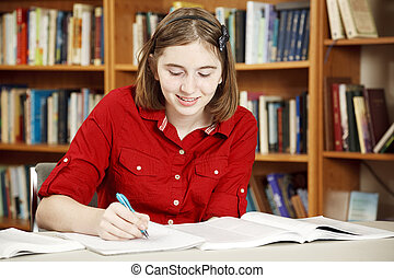 adolescente, bibliothèque