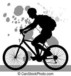 adolescente, bicicletta cavalca