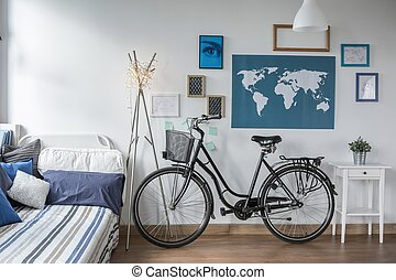 adolescente, bicicletta, retro, camera letto