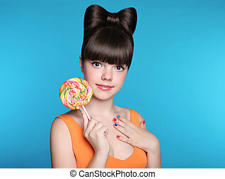 adolescente, blu, acconciatura, mangiare, bellezza, colorito, isolato, arco, ragazza, attraente, fondo, lollipop., modello, sorridere felice