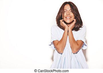 adolescente, blu, donna sorridente, no, trucco, isolato, casuale, allegro, girl., dress., fondo, ritratto, modello, bianco