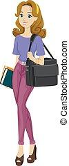 adolescente, bolsa, niña, ocupado, multimedia