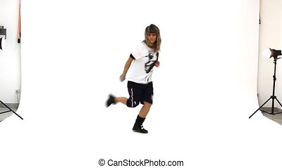 adolescente, breakdance, bailando