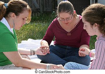 adolescente, círculo, 2, oração