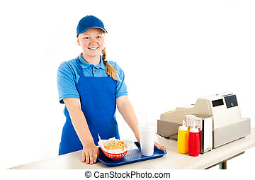 adolescente, cajero, sirve, comida rápida