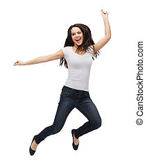 adolescente, camiseta, saltar, blanco, blanco, niña