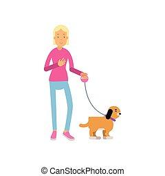 adolescente, camminare, colorito, lei, cane, illustrazione, ragazza, vettore, biondo, cartone animato