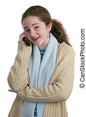 adolescente, cellula, conversazione