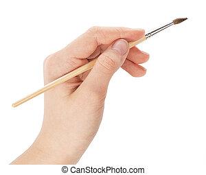 adolescente, cepillo, mano femenina