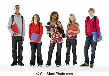 adolescente, cheio, estudantes, comprimento, cinco, retrato, estúdio